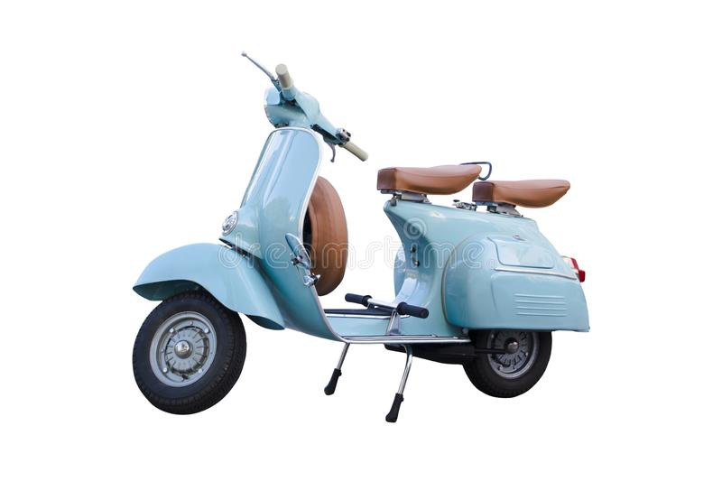 Light blue vintage motorcycle scooter isolated in white background. Adorable old scooter in perfect condition. stock photos