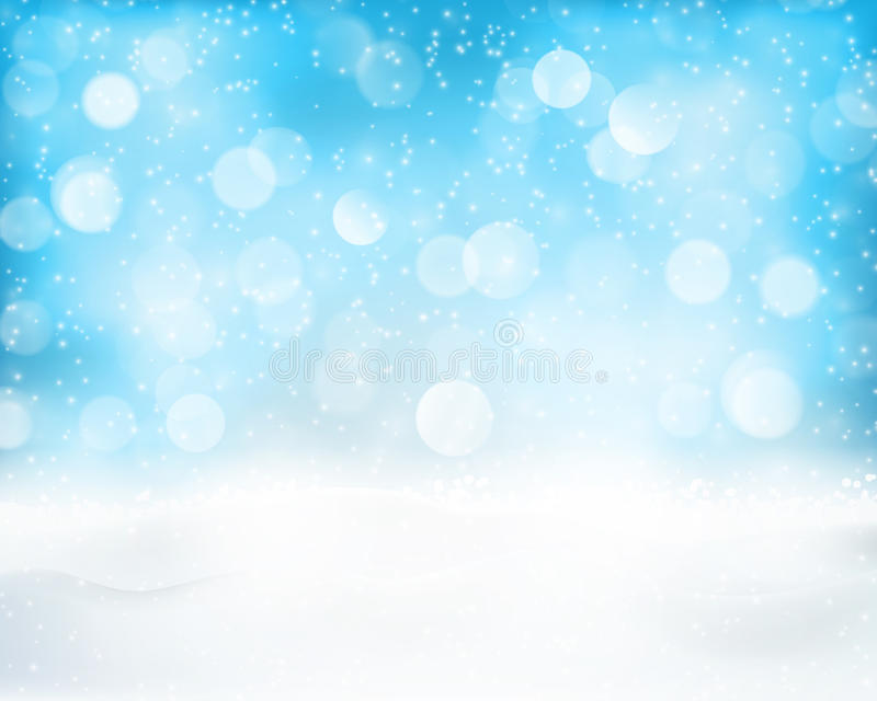 Light Blue Winter Holiday Bokeh Background Stock Vector