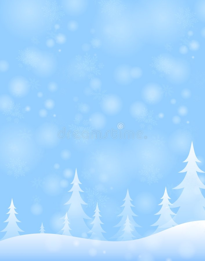 Light Blue Winter Snow Scene. A background illustration featuring a simple white and blue winter scene with trees and snowflakes vector illustration