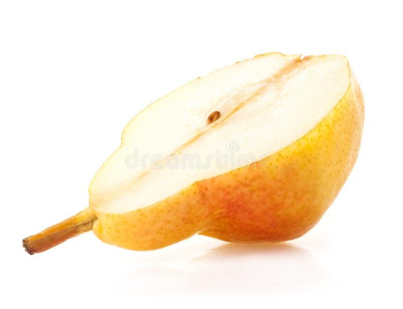 Ripe pear slice isolated on white background stock image
