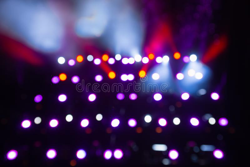 Light bokeh. Abstract blurred christmas background. Color circles in the lens blur zone.  stock image
