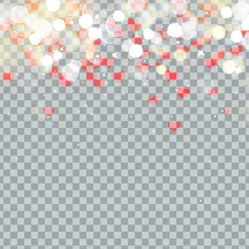 Light bokeh and Heart of Valentines petals falling on transparent background. Flower petal in shape of heart confetti.  vector illustration