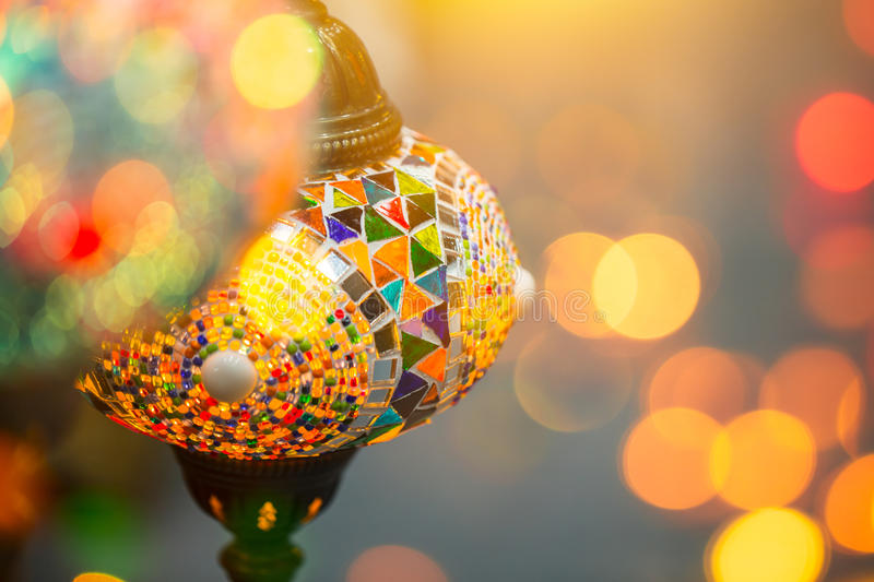 Light bokeh with Turkey lamp. Beauty colors of light bokeh of Turkey lamp stock images