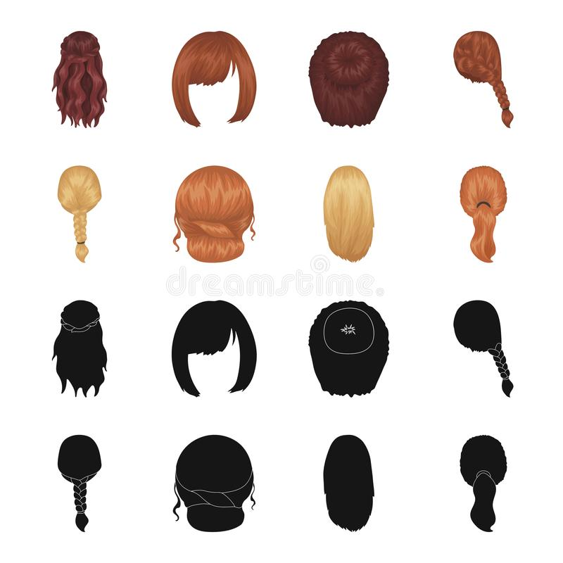 Light braid, fish tail and other types of hairstyles. Back hairstyle set collection icons in black,cartoon style vector. Symbol stock illustration vector illustration