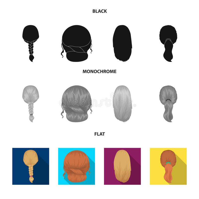 Light braid, fish tail and other types of hairstyles. Back hairstyle set collection icons in black, flat, monochrome. Style vector symbol stock illustration stock illustration