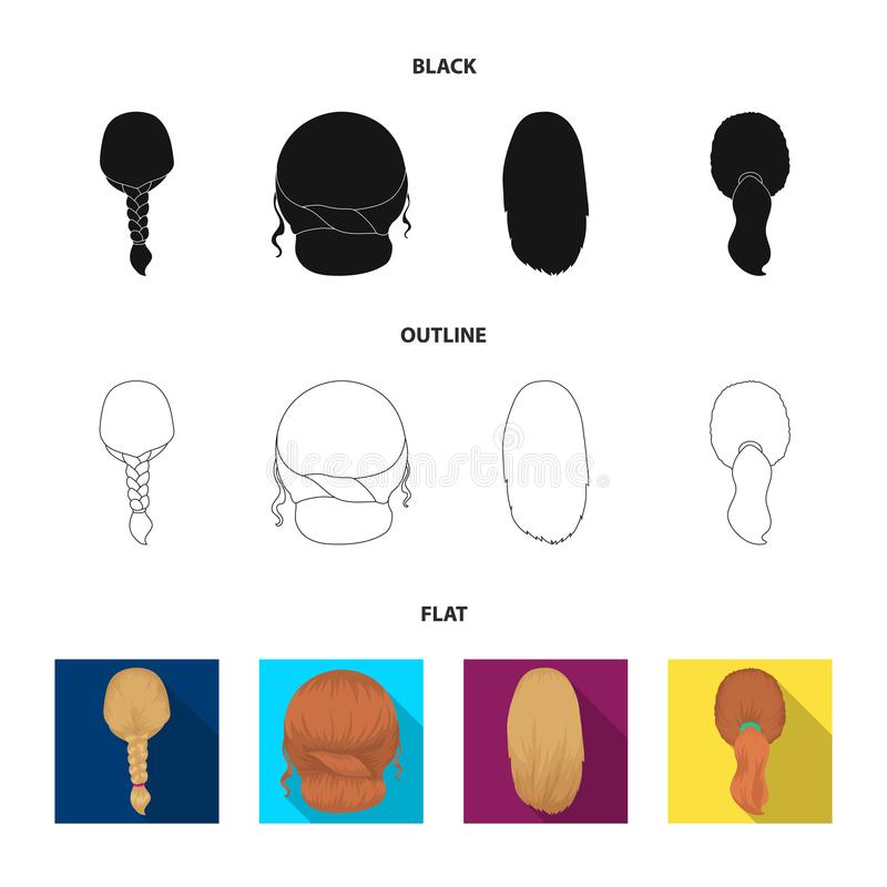 Light braid, fish tail and other types of hairstyles. Back hairstyle set collection icons in black,flat,outline style. Vector symbol stock illustration royalty free illustration