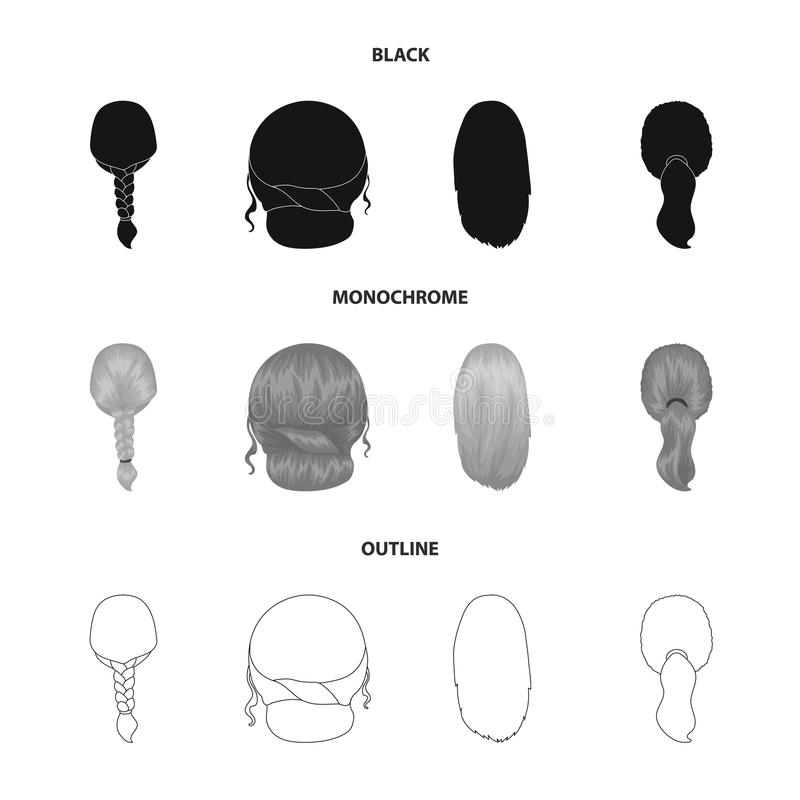Light braid, fish tail and other types of hairstyles. Back hairstyle set collection icons in black,monochrome,outline. Style vector symbol stock illustration vector illustration