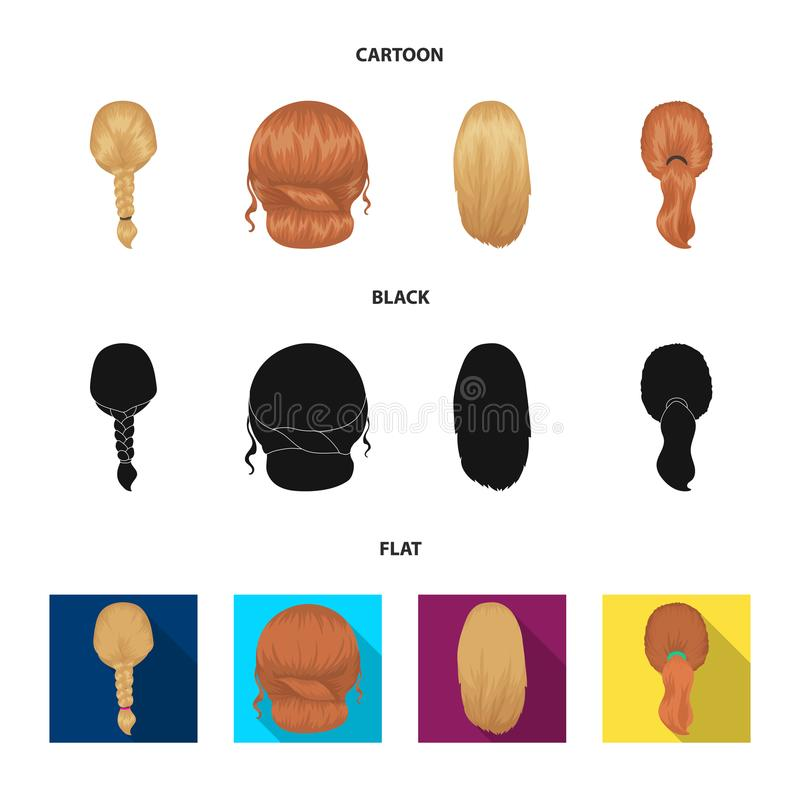 Light braid, fish tail and other types of hairstyles. Back hairstyle set collection icons in cartoon,black,flat style. Vector symbol stock illustration royalty free illustration