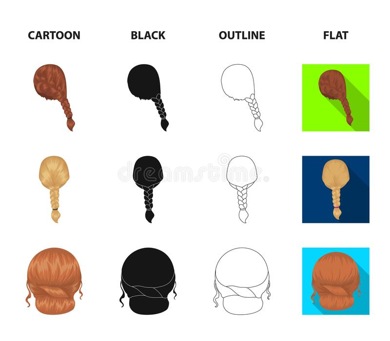 Light braid, fish tail and other types of hairstyles. Back hairstyle set collection icons in cartoon,black,outline,flat. Style vector symbol stock illustration vector illustration