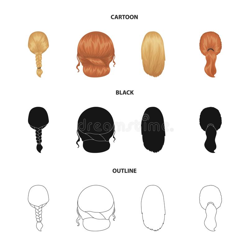 Light braid, fish tail and other types of hairstyles. Back hairstyle set collection icons in cartoon,black,outline style. Vector symbol stock illustration vector illustration