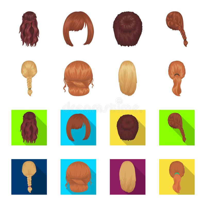 Light braid, fish tail and other types of hairstyles. Back hairstyle set collection icons in cartoon,flat style vector. Symbol stock illustration vector illustration