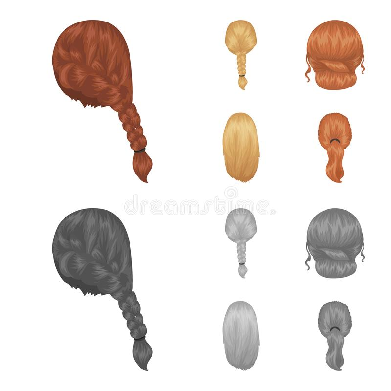 Light braid, fish tail and other types of hairstyles. Back hairstyle set collection icons in cartoon,monochrome style. Vector symbol stock illustration royalty free illustration