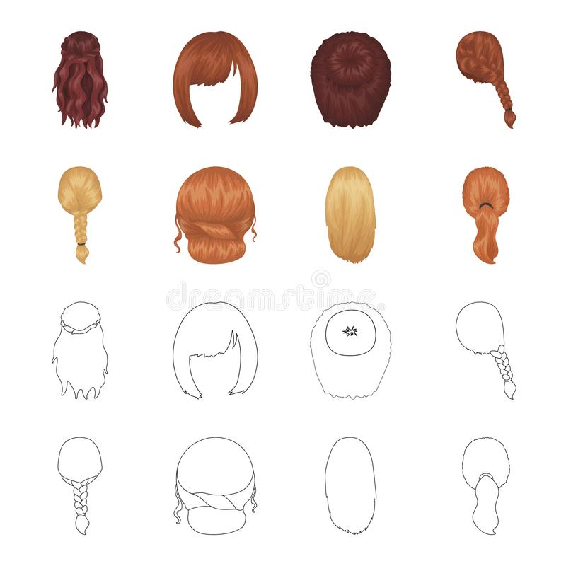 Light braid, fish tail and other types of hairstyles. Back hairstyle set collection icons in cartoon,outline style. Vector symbol stock illustration vector illustration