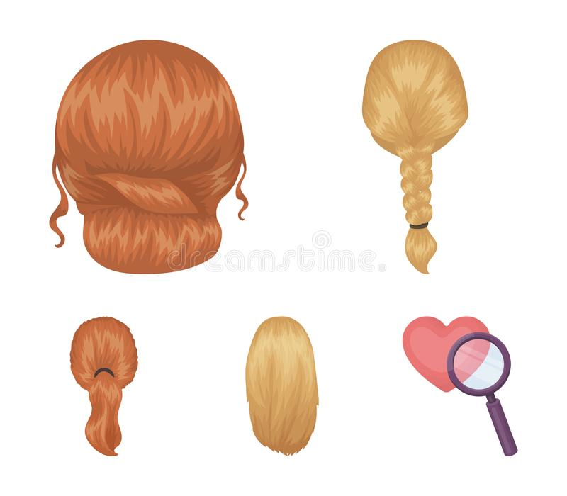 Light braid, fish tail and other types of hairstyles. Back hairstyle set collection icons in cartoon style vector symbol. Stock illustration vector illustration