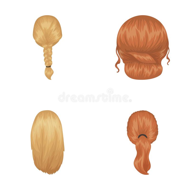 Light braid, fish tail and other types of hairstyles. Back hairstyle set collection icons in cartoon style vector symbol. Stock illustration royalty free illustration