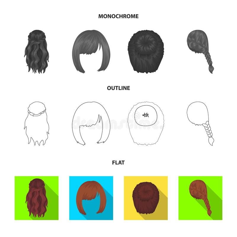 Light braid, fish tail and other types of hairstyles. Back hairstyle set collection icons in flat,outline,monochrome. Style vector symbol stock illustration royalty free illustration