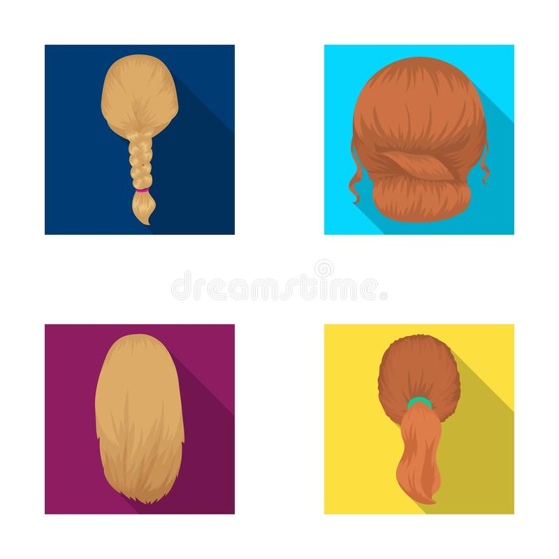 Light braid, fish tail and other types of hairstyles. Back hairstyle set collection icons in flat style vector symbol. Stock illustration vector illustration
