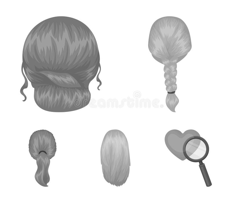 Light braid, fish tail and other types of hairstyles. Back hairstyle set collection icons in monochrome style vector. Symbol stock illustration vector illustration