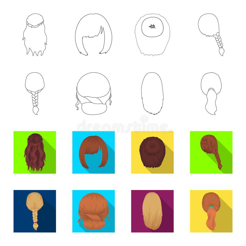 Light braid, fish tail and other types of hairstyles. Back hairstyle set collection icons in outline,flat style vector. Symbol stock illustration vector illustration
