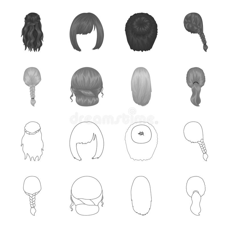 Light braid, fish tail and other types of hairstyles. Back hairstyle set collection icons in outline,monochrome style. Vector symbol stock illustration royalty free illustration