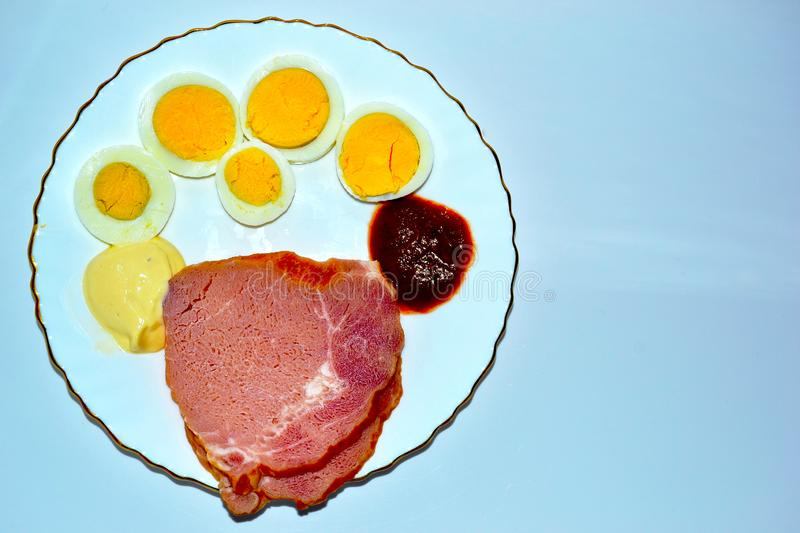 Light breakfast. Plate of food. royalty free stock image