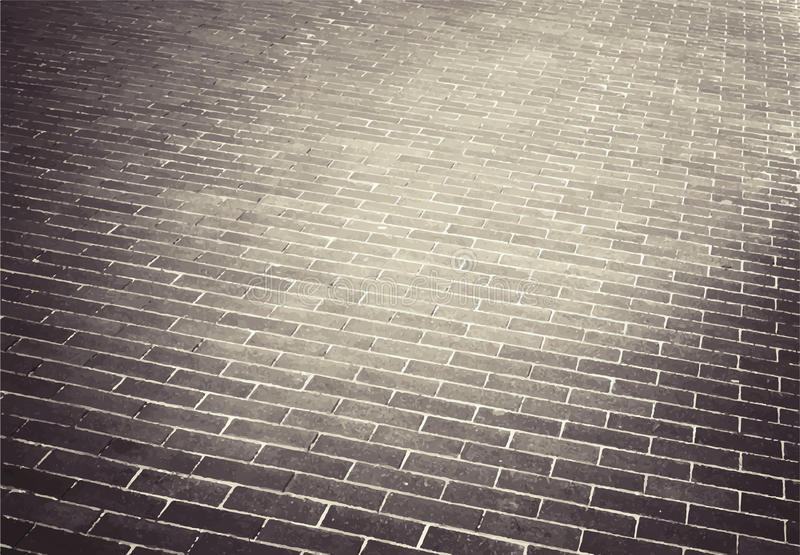 Light brown brick stone street road. Sidewalk. Brick stone street road. Sidewalk, pavement texture stock illustration