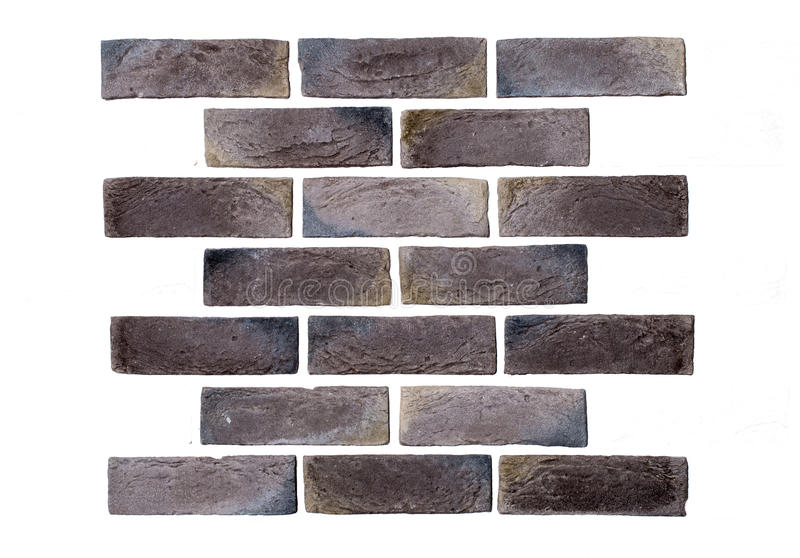 Light brown brick wall white background. Creative back-phonons ,close-up, place for text stock image