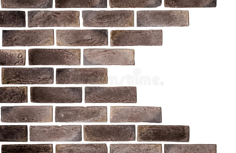 Light brown brick wall white background. Creative back-phonons ,close-up, place for text royalty free stock images