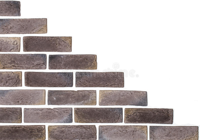 Light brown brick wall white background. Creative back-phonons ,close-up, place for text royalty free stock image