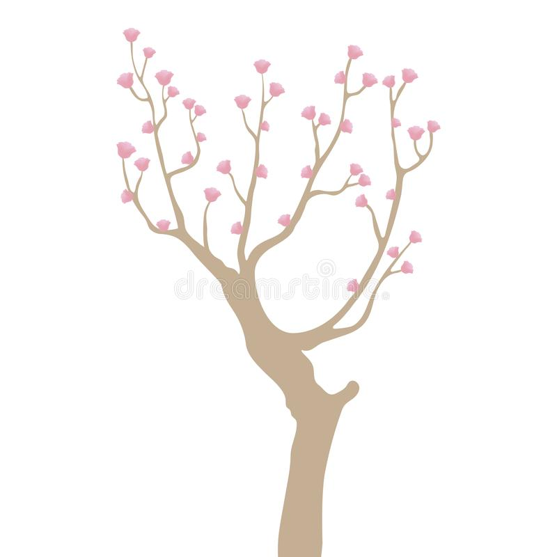 Light brown crooked curved tree with branches with small pink flowers isolated on white background stock illustration