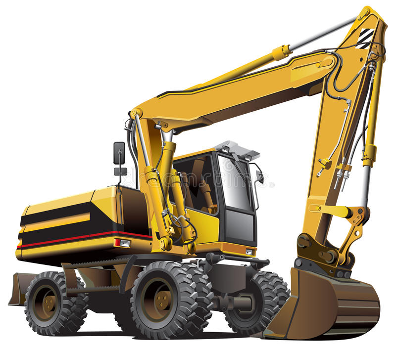 Light-brown excavator vector illustration