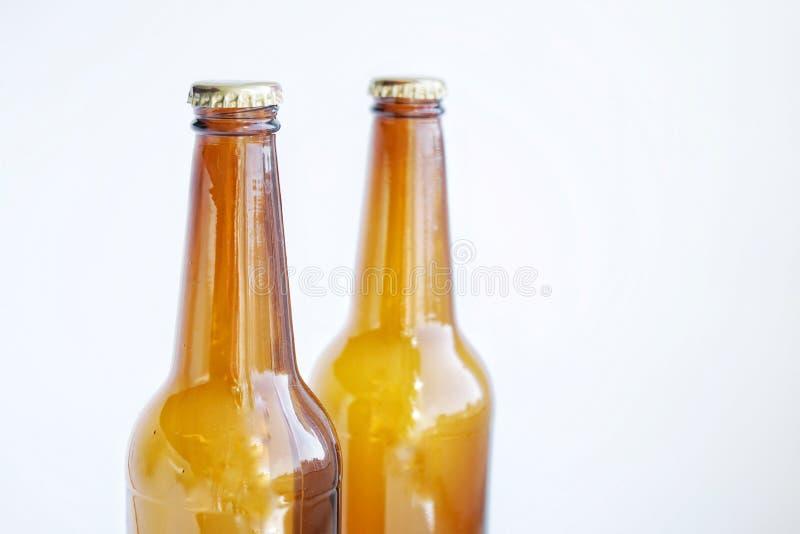 Light brown glass beer bottles on white background with highlights. Light brown glass beer bottles white background highlights royalty free stock image