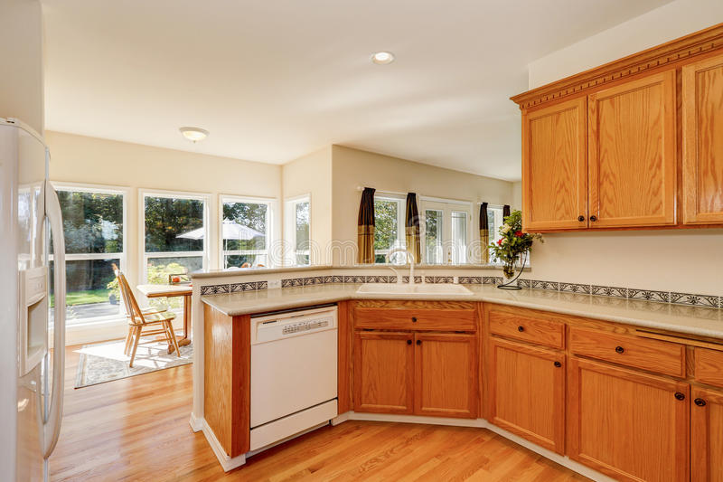 Download Light Brown Kitchen Cabinets And White Appliances Stock Image    Image Of Appliances, Northwest