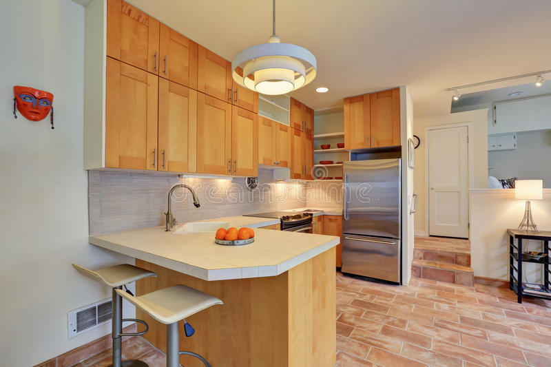 Light brown kitchen interior with steel appliances. And tile back splash trim in apartment house. Northwest, USA royalty free stock image