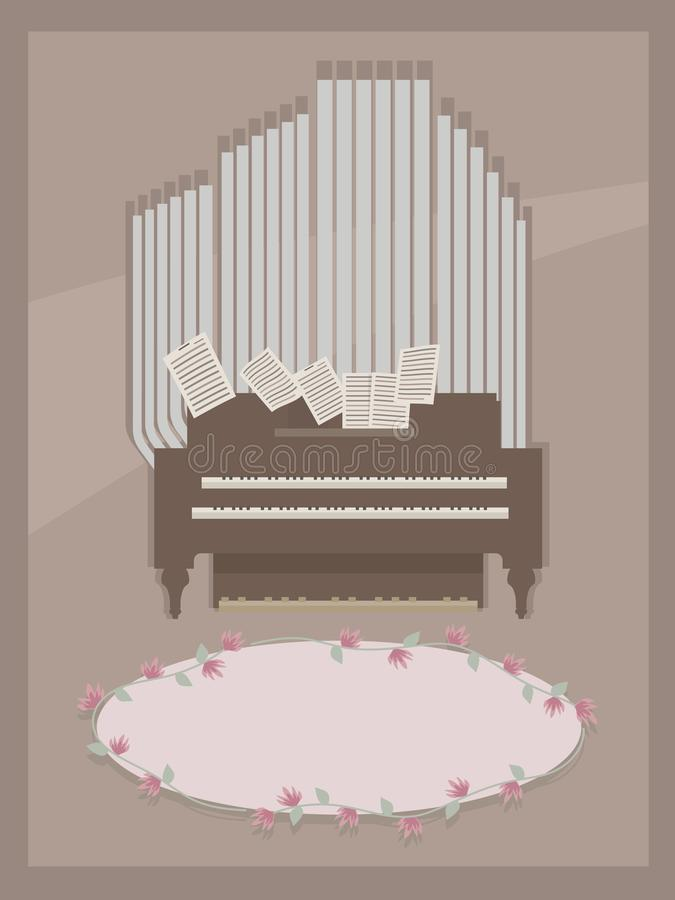 Brown postcard with small room organ wooden brown and gray with two keyboards for hands, pages with notes and pink floral oval for vector illustration