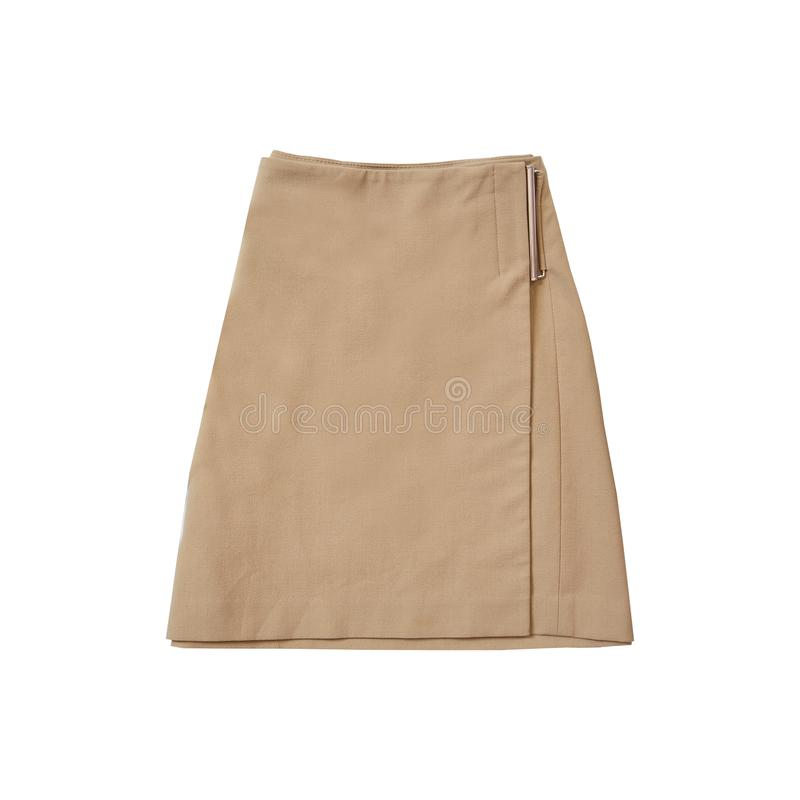 Light brown suede skirt. Fashionable concept. Isolated. White b royalty free stock image