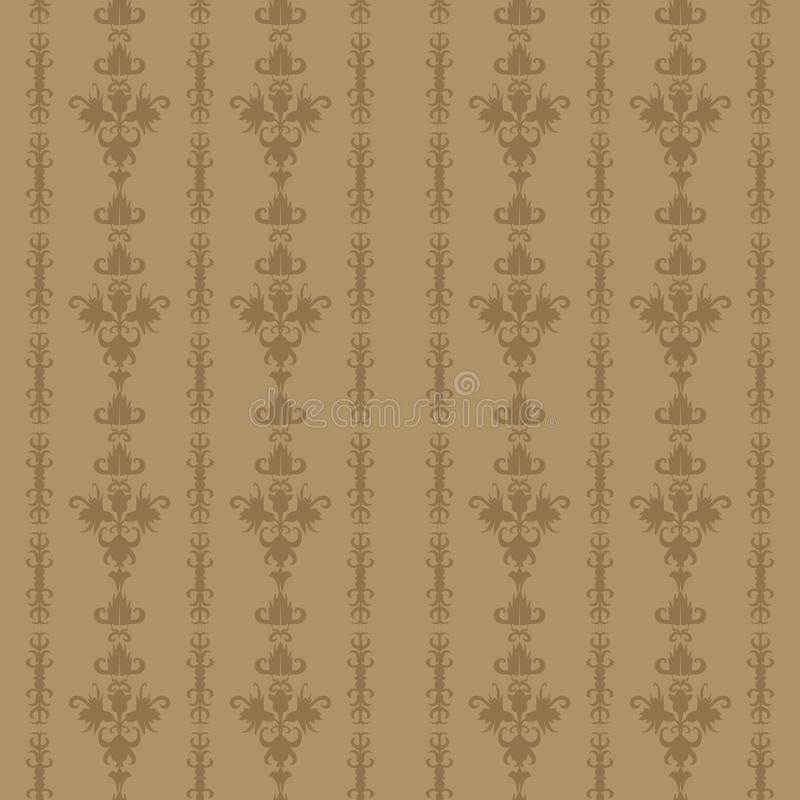 Download Light Brown Vintage Background Seamless Floral Old Time Striped Pattern Stock Vector