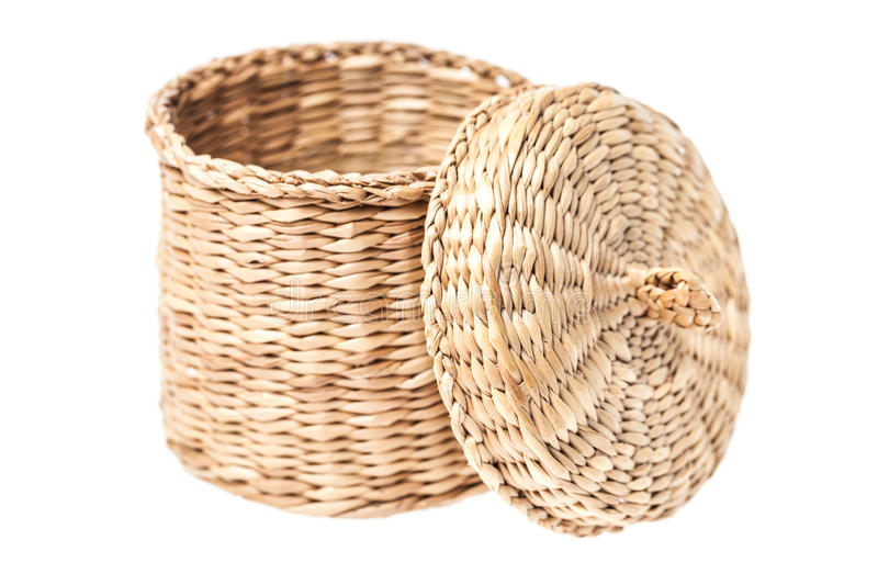 Download Light Brown Wicker Basket With Open Lid Royalty Free Stock Images - Image: 33375079