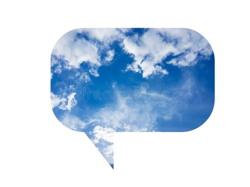 Bubble speech illustration with blue cloudy sky sign symbol icon isolated on white royalty free illustration