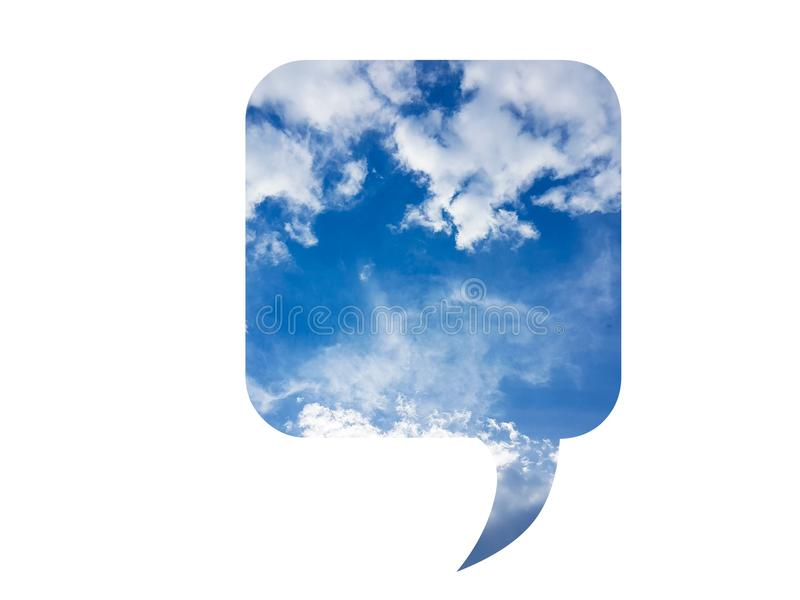 Bubble speech illustration with blue cloudy sky sign symbol icon isolated on white stock illustration
