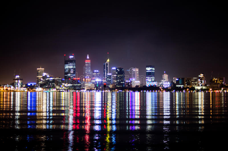 Light of building in the river at night. Perth Australia royalty free stock images