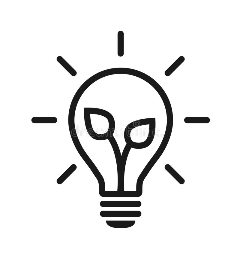 Green energy light bulb icon royalty free illustration