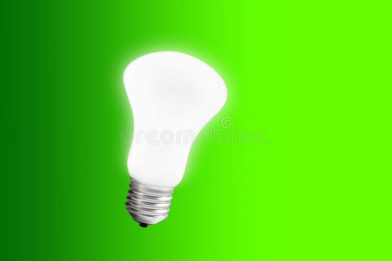 Light Bulb. In a cyan background(Save energy royalty free stock image