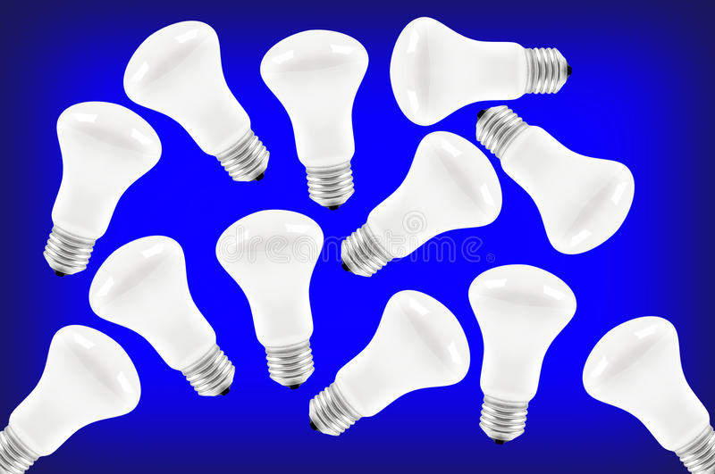 Light Bulb. In a blue background stock image