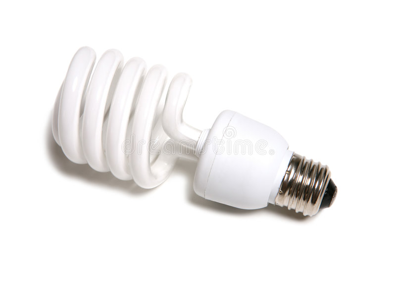 Light Bulb. A fluorescent light bulb over a white background royalty free stock photo
