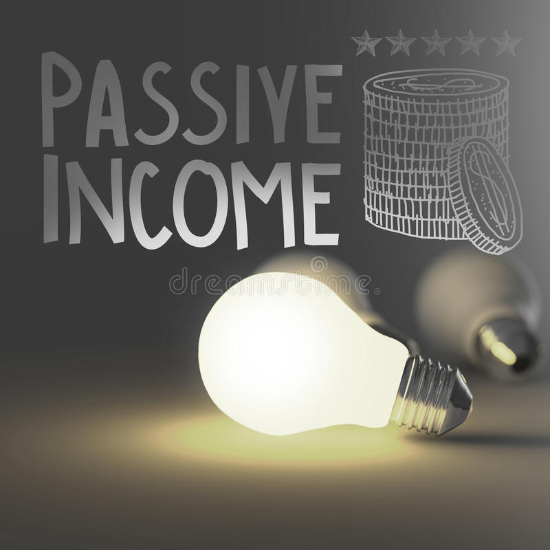 Free Light Bulb 3d And Hand Drawn Passive Income Royalty Free Stock Photo - 37105995