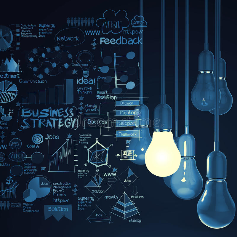 Free Light Bulb 3d On Business Strategy Background Royalty Free Stock Photography - 37105807