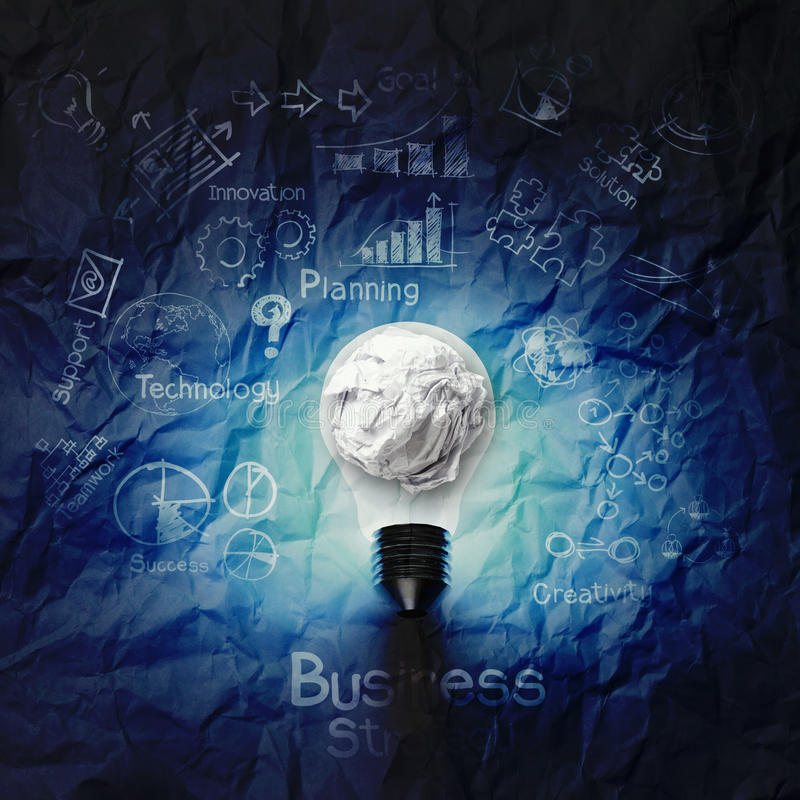 Free Light Bulb 3d On Business Strategy On Crumpled Paper Background Royalty Free Stock Photo - 34054415