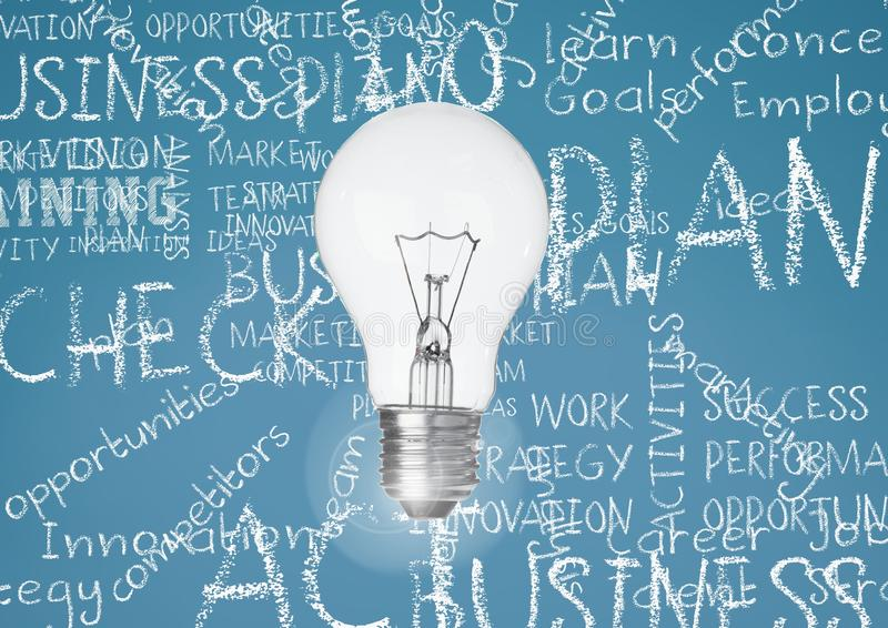 Light bulb against turqouise background with business chalk words written stock images