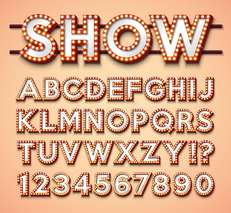 Light Bulb Alphabet with bright red frame and shadow on red backgrond. Glowing retro vector font collection with shiny royalty free illustration